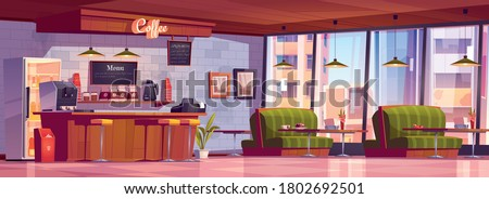 Cafe interior with coffee machine at cashier desk, refrigerator, chalkboard menu, tables with couches, bar and chairs. Empty cafeteria with furniture, restaurant court. Cartoon vector illustration