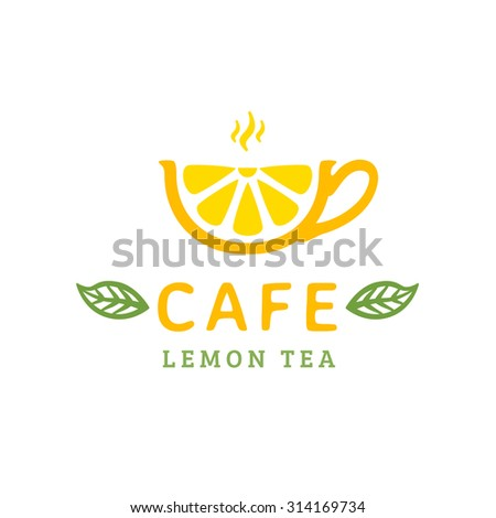 cafe logo design cup lemon tea