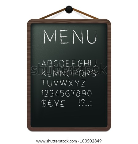 Cafe menu board with chalk alphabet. Vector illustration.