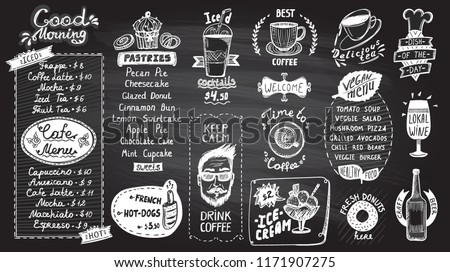 Cafe menu chalkboard design set, hand drawn line graphic illustration with pastries and drinks, vegan menu, coffee and tea symbols, ice cream and iced cocktails, hot dogs and donuts, wine and beer