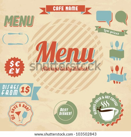 Cafe menu design elements. Vector illustration.