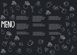 Cafe menu design with place for your text. Dessert menu horizontal template. Decorated with hand drawn cups, pots, glasses, cakes, pastry, flower vases on dark gray background