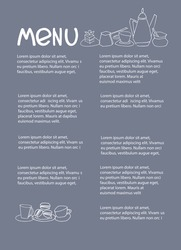 Cafe menu design with place for your text. Dessert menu template. Decorated with hand drawn cups, pots, glasses, cakes, pastry, flower vases on warm gray-blue background
