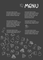 Cafe menu design with place for your text. Dessert menu template. Decorated with hand drawn cups, pots, glasses, cakes, pastry, flower vases on dark gray background
