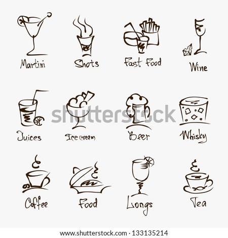 cafe menu hand draw icons on white