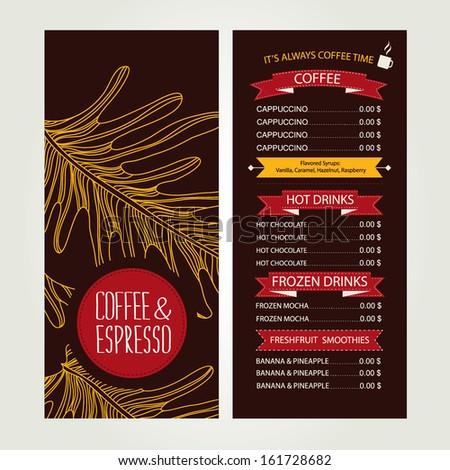 Cafe menu, template design. Vector illustration.