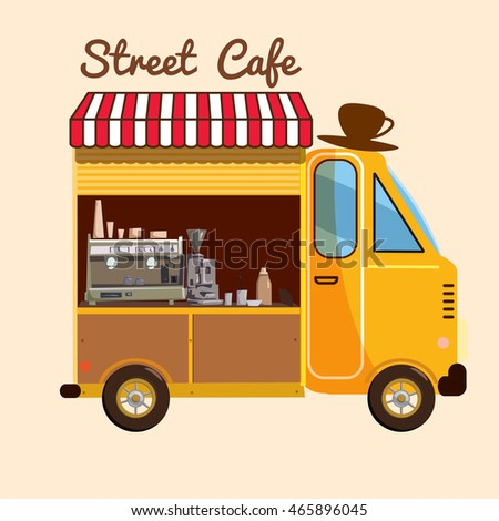 Cafe on wheels, bus, street food, Cartoon, vector illustration