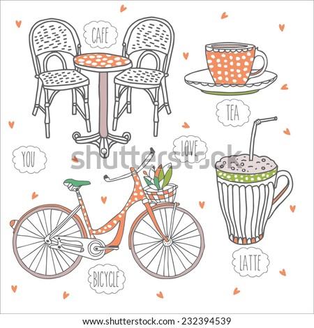 cafe  orange  vector love