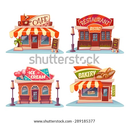 Cafe, restaurant, ice-cream shop and bakery. Vector set. Illustration.