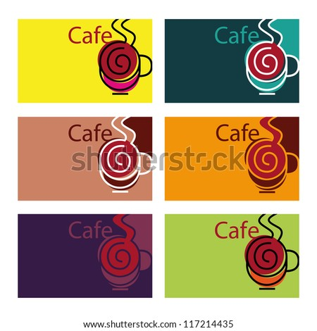 Cafe sign, cafe menu, coffee cup, visit card