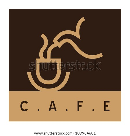 Cafe sign, coffee cup with coffee pot