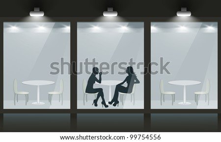 Cafe with glass windows and women silhouette, front view. Vector exterior.
