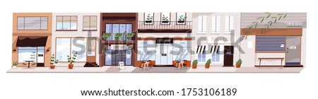 Cafes and shops are closed during coronavirus quarantine. Concept of small, midsize business closure, bankruptcy. Economic crisis. Empty city street panorama. Vector illustration in flat cartoon style