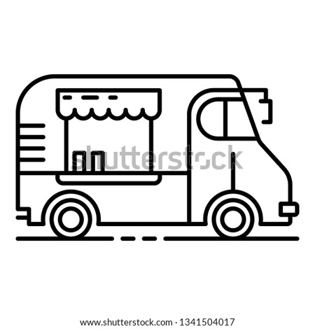 Cafeteria vehicle icon. Outline cafeteria vehicle vector icon for web design isolated on white background