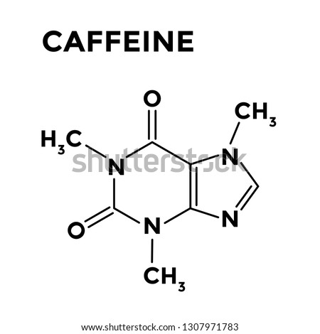 Caffeine structural chemical formula on white background