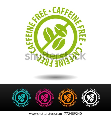 Caffeinel free badge, logo, icon. Flat vector illustration on white background. Can be used business company.