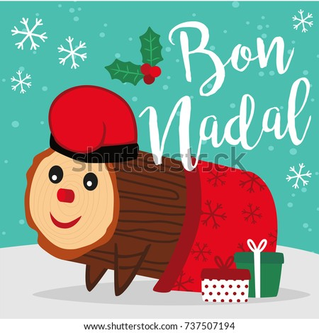 Caga Tio de Nadal, a typical Christmas character from Catalonia and Aragon, Spain. Vector illustration. Merry Christmas lettering written in catalan. Zdjęcia stock ©