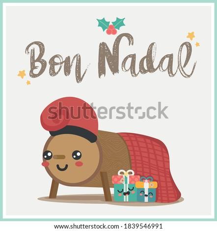 Caga tio or Tio de Nadal, traditional christmas character from Catalonia and Aragon, Spain. Vector illustration.  Translation: Merry Christmas. Zdjęcia stock ©