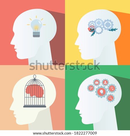 Caged brain inside head. Moving gears inside the head. Mental activity. Light bulb in the head. Idea symbol Zdjęcia stock ©