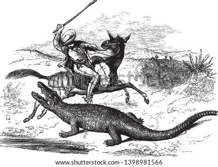 caiman lunging at a man on
