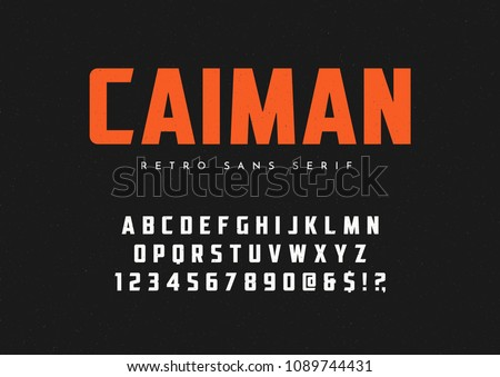 Caiman trendy sans serif retro typeface, font, letters and numbers. Vector illustration.