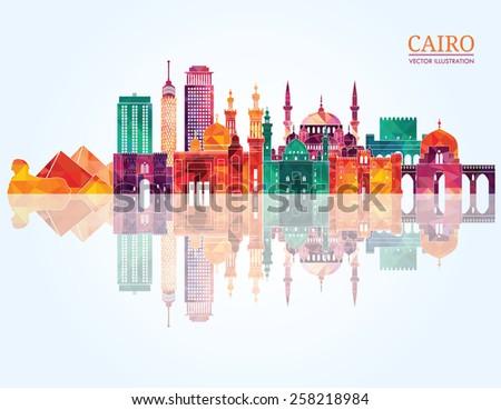 cairo detailed skyline vector
