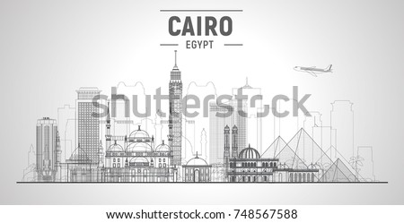 Cairo (Egypt) line skyline on a white background. Flat vector illustration. Business travel and tourism concept with modern buildings. Image for banner or web site.