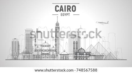 cairo  egypt  line skyline on a