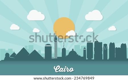 cairo skyline   flat design