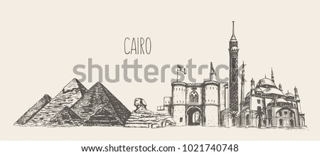 Cairo skyline with its main attractions, Egypt, hand drawn vector illustration, sketch