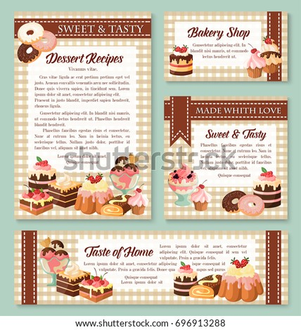 Cake and bakery shop banner template set with pastry dessert. Cake, cupcake, chocolate muffin, donut, ice cream, brownie, cheesecake and fruit pudding for pastry shop business card and poster design