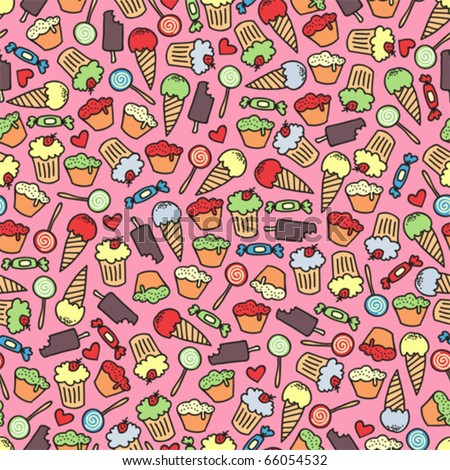 Cake and candy seamless pattern. Vector doodle illustration.