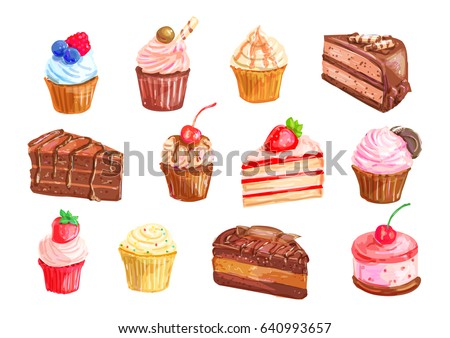 Cake and cupcake dessert set with watercolor illustration of sweet food. Cake, cupcake, cream fruit dessert, chocolate brownie, muffin, strawberry pie and cheesecake with whipped cream and berry