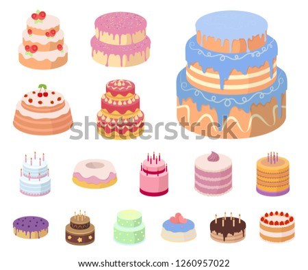 6854441adfb5 Cake and dessert cartoon icons in set collection for design. Holiday cake  vector symbol stock