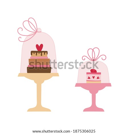 Cake and dessert in cake stands with glass dome lid with ribbon bow. Pink and brown colors. Valentine's day vector illustration. Foto stock ©