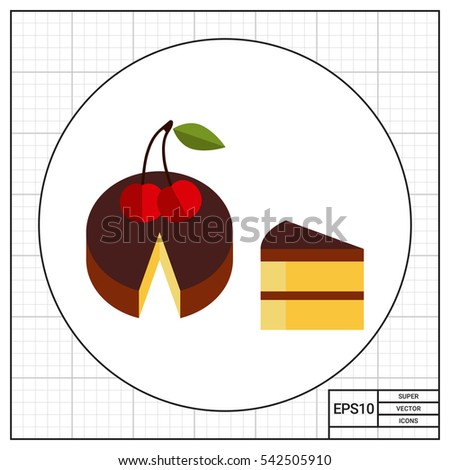 cake and piece vector icon