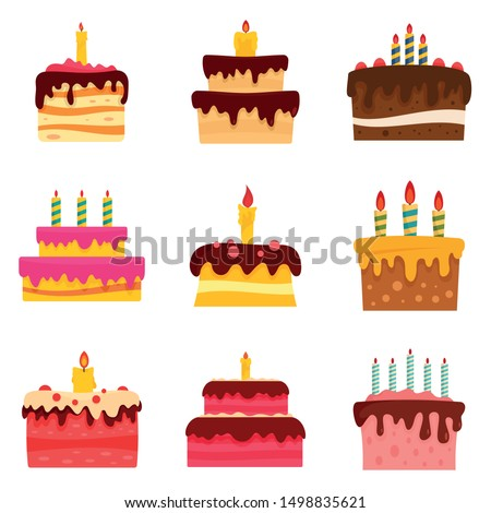Cake birthday icon set. Flat set of cake birthday vector icons for web design