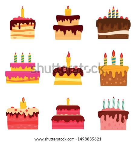 Cake birthday icon set. Flat set of cake birthday vector icons for web design