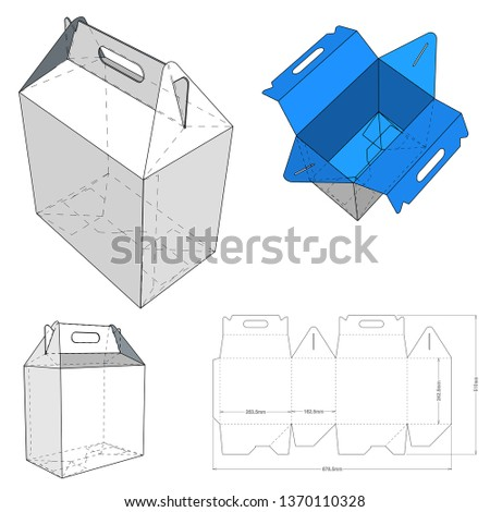 Cake Box with handle and Die-cut Pattern. The .eps file is full scale and fully functional. Prepared for real cardboard production.