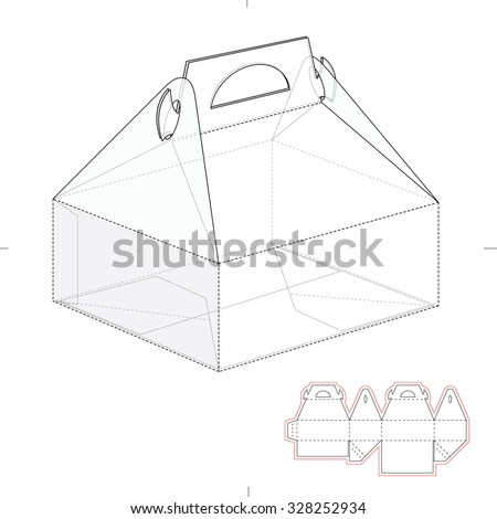 Royalty free six pack custom top lock box with die 339969437 cake carrier box with die line template 328252934 pronofoot35fo Images