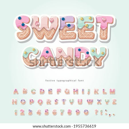 Cake cartoon font. Cute sweet letters and numbers for birthday card, baby shower, Valentines day, sweets shop, girls magazine, collages. Paper cut out. Vector illustration