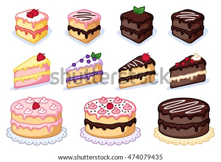 Cake clipart set, colorful cakes vector illustration, sweet clipart, pastry clipart.