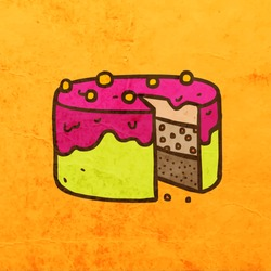 Cake. Cute Hand Drawn Vector illustration, Vintage Paper Texture Background
