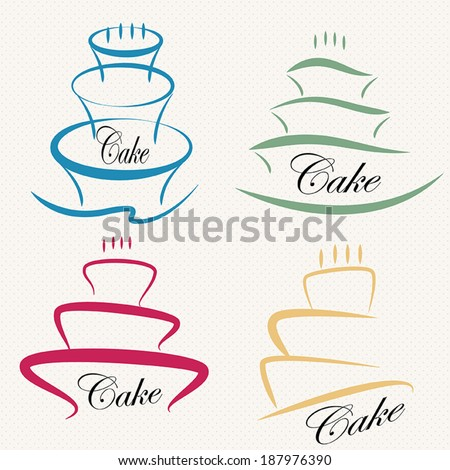 Vintage Cake Logo Design : Cake Design Symbol Set . Stock Vector Illustration ...
