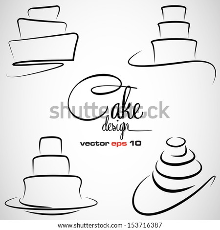 cake design symbol set in