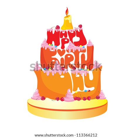 Cake Formed From Happy Birthday Text - on white background.