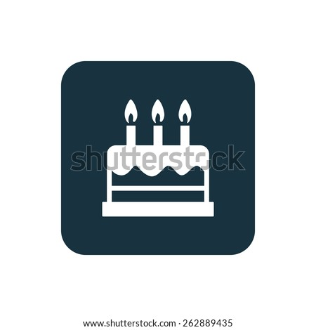 cake icon Rounded squares button, on white background