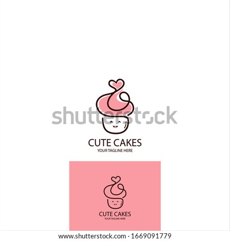 CAKE LOGO. CUTE HAPPY CAKE VECTOR. LOGO FOR RESTAURANT, CAKES, BAKERY AND ANY MORE - Vector