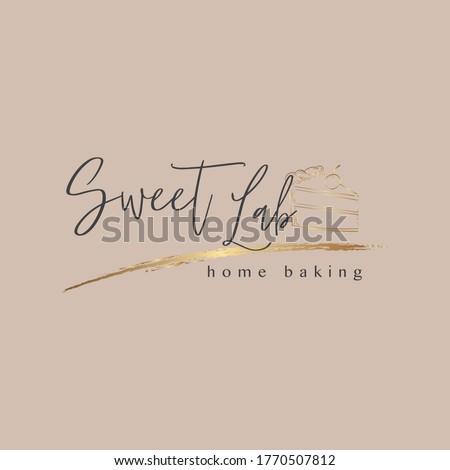 Cake logo design, golden cake logo.