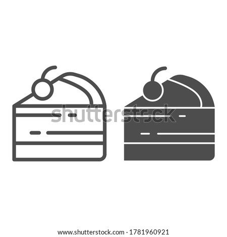 cake piece line and solid icon